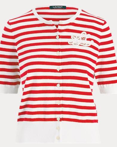 Monogram Striped Cardigan