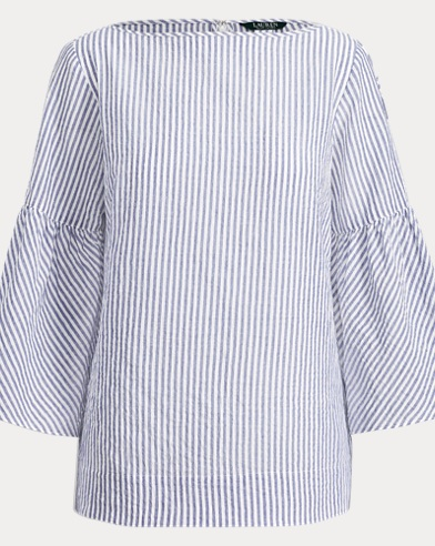 Striped Cotton Bell-Sleeve Top