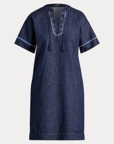 Lace-Up Denim Shift Dress