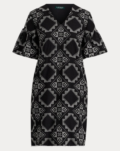 Geometric-Print Crinkled Dress