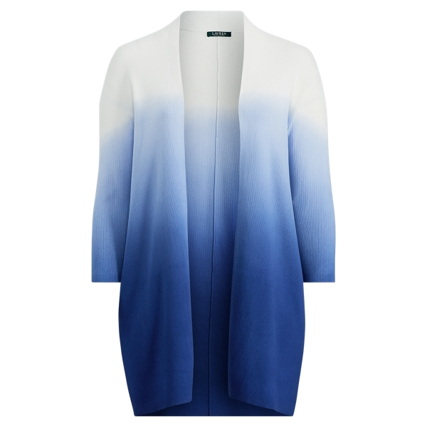 Ralph Lauren Ribbed Open-Front Cardigan Soft White/Sapphire 1X