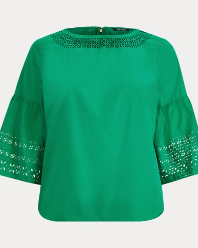 Poplin Bell-Sleeve Top
