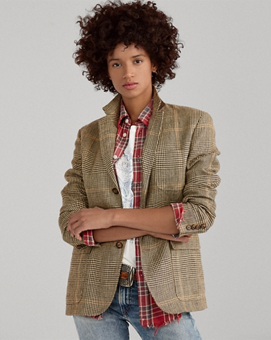 Glen Plaid Linen Blazer