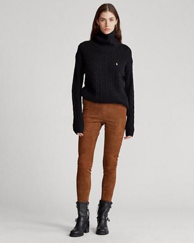 Pantaloni skinny in camoscio