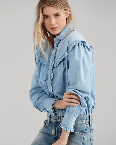 Ruffle-Trim Denim Shirt