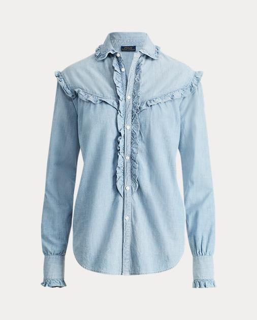 989ad8562 Polo Ralph Lauren Ruffle-Trim Denim Shirt 2