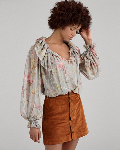 Sheer Silk Floral Blouse