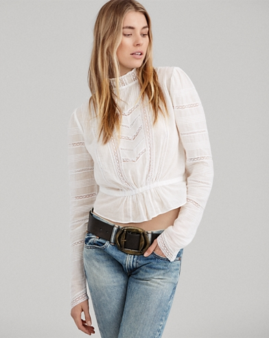 Lace-Trim Cotton Voile Shirt