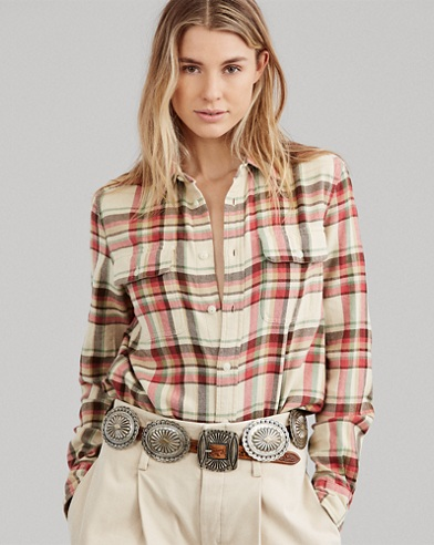 Relaxed Fit Twill Plaid Shirt