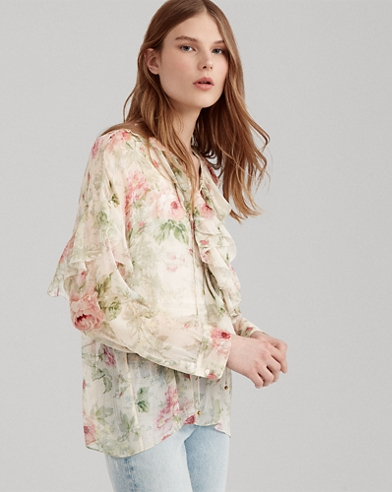Floral Lace-Up Silk Blouse