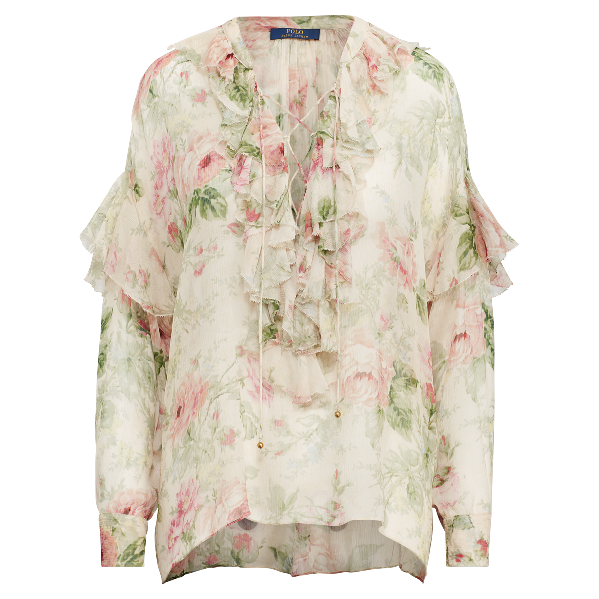 0aae93b372eff9 Floral Lace-Up Silk Blouse