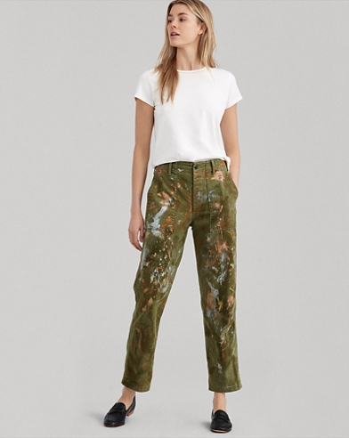 Paint-Splatter Straight Pant