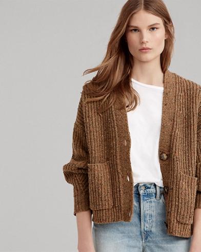 Cardigan court en laine mélangée