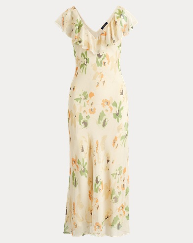 Floral-Print Silk Maxidress