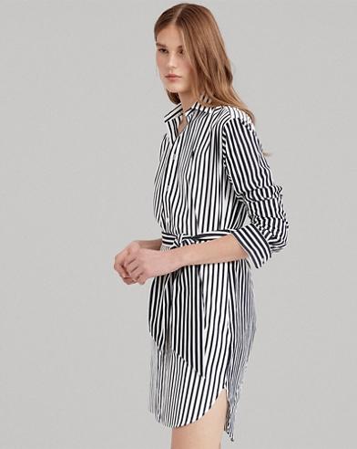 Gestreiftes Hemdkleid aus Baumwolle