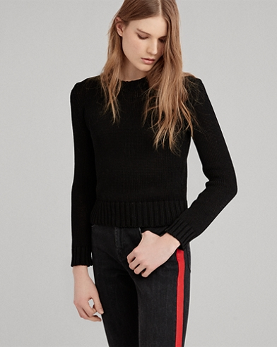 Cropped Cotton Sweater