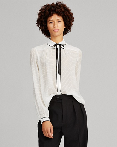 Tie-Neck Silk Button-Down