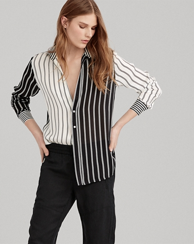 Striped Satin Button-Down