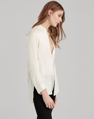 Striped Silk Band-Collar Shirt