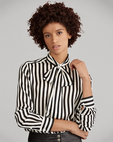 Tie-Neck Striped Silk Blouse