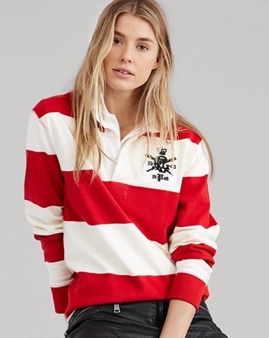 Baumwoll-Rugbyhemd mit Monogramm