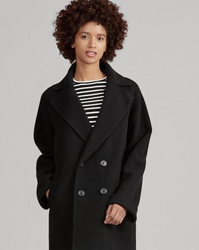 Manteau en laine coupe croisée