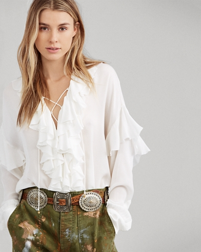 Ruffled Georgette Shirt