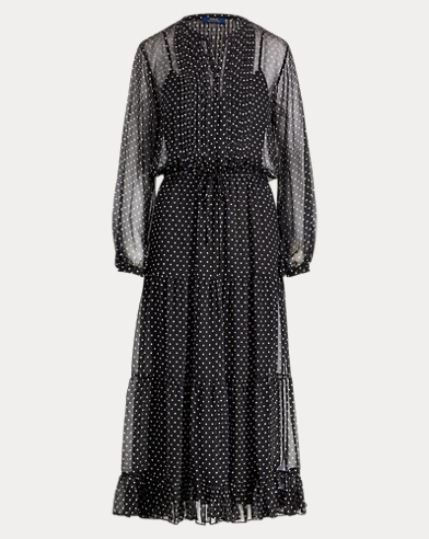 Sheer Polka-Dot Silk Maxidress