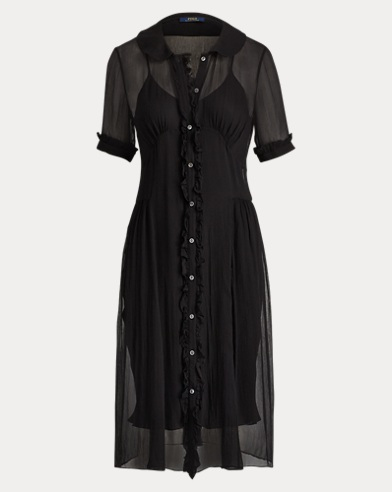 Buttoned Crinkled Silk Dress