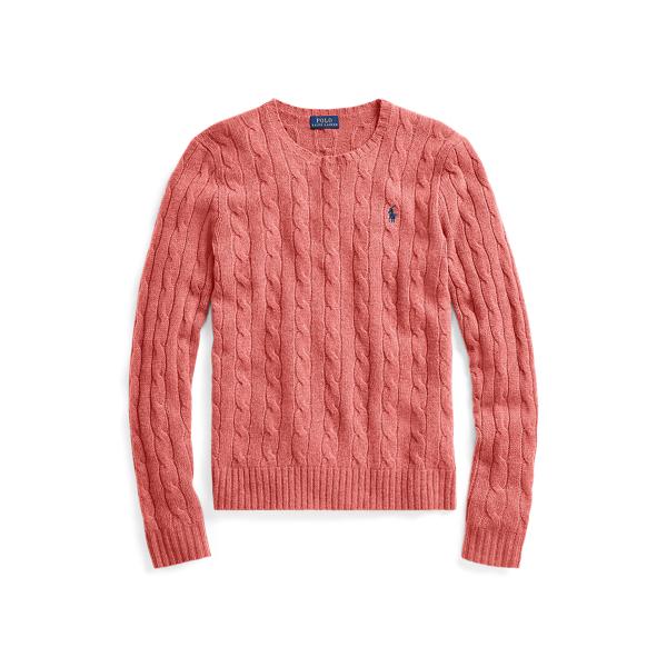 Ralph Lauren Cable Wool Crewneck Sweater In Pink