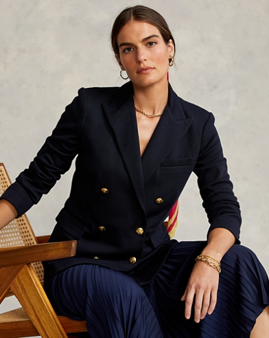 Knit Double-Breasted Blazer