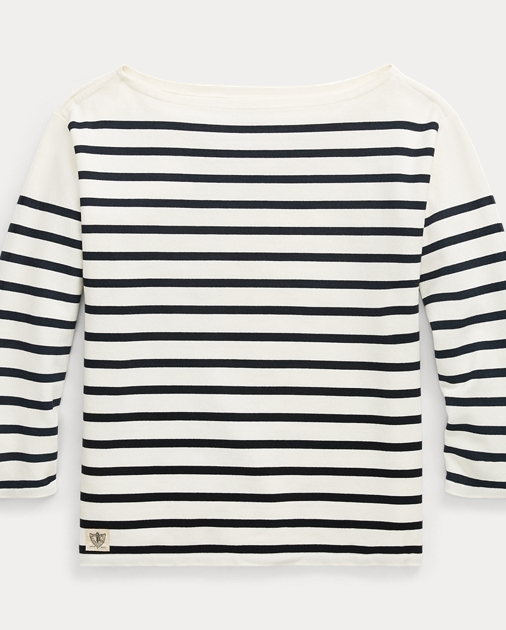 f193d2bf30c87 Polo Ralph Lauren Striped Boatneck Cotton Top 1