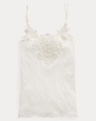 Lace-Trim Cotton Camisole