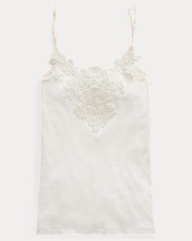 Camisola de algodón con ribete de encaje