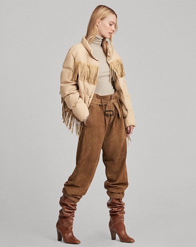 Fringe-Trim Down Jacket