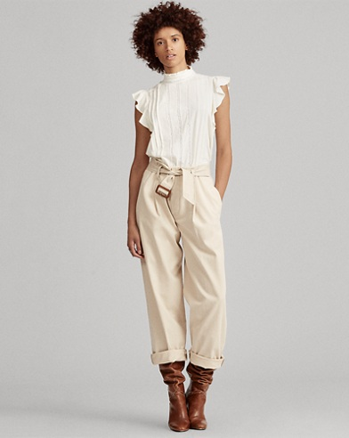 Band-Collar Ruffled Cotton Top