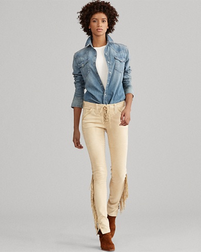 Fringe-Trim Leather Pant
