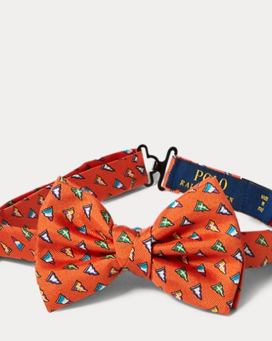 Flag-Print Silk Bow Tie