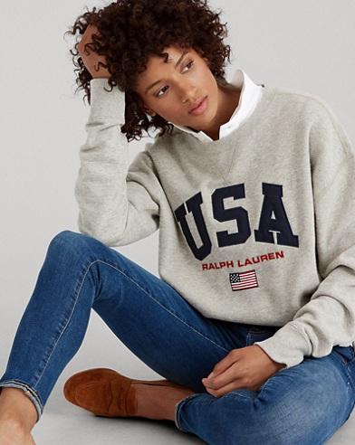 Fleece-Sweatshirt mit USA-Design
