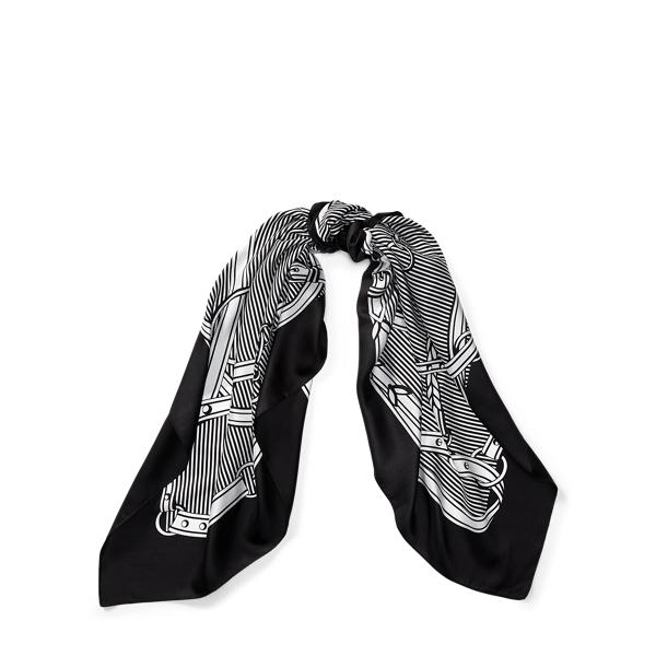 Ralph Lauren Equestrian Silk Scarf Black One Size