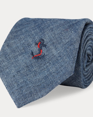 Anchor Chambray Narrow Tie. Polo Ralph Lauren