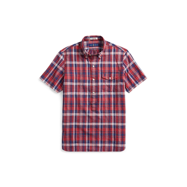 Ralph Lauren Classic Fit Madras Sport Shirt Venetian Red/Indigo 2X Big