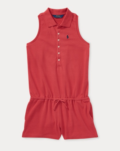 Stretch Cotton Mesh Romper