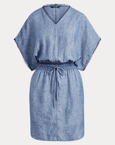 Novelty-Trim Linen Dress