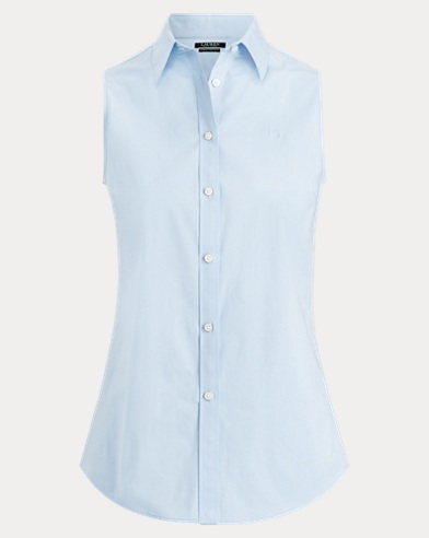 Button-Down Sleeveless Blouse