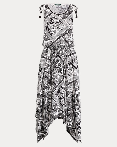 Handkerchief-Hem Paisley Dress