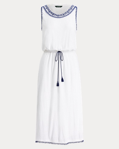 Embroidered-Collar Midi Dress
