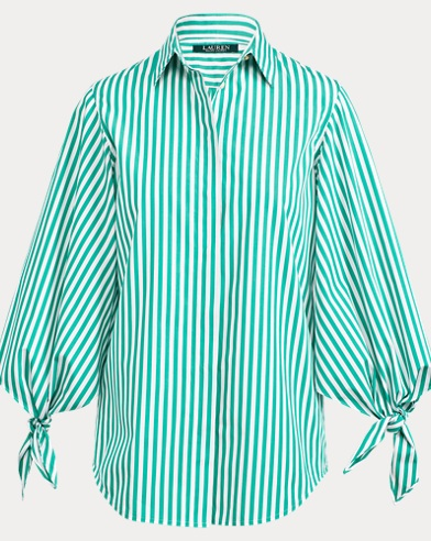 Tie-Sleeve Cotton Shirt