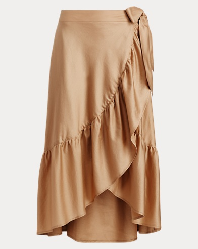 Ruffled Sateen Wrap Skirt