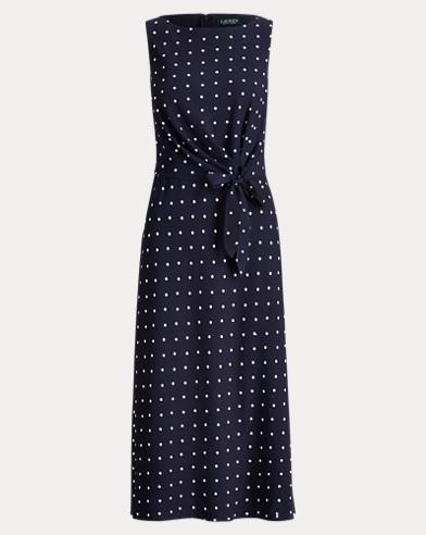 Polka-Dot Crepe Midi Dress